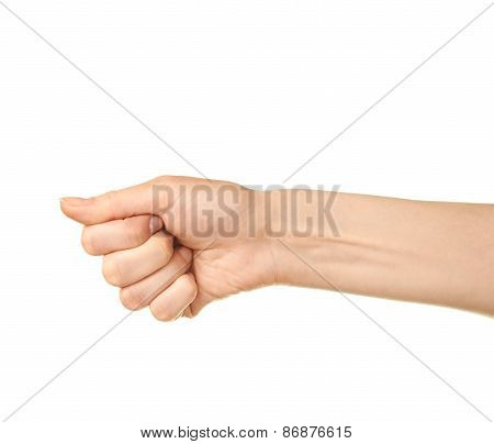Female caucasian hand gesture isolated