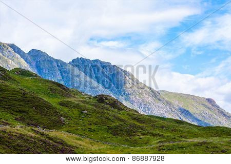 Glencoe Highland Region Scotland United Kingdom Glencoe mountains panoramic view Scottish HiglandsScotland UK. poster