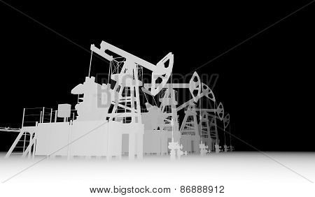 Gray silhuettes of oil pump-jacks