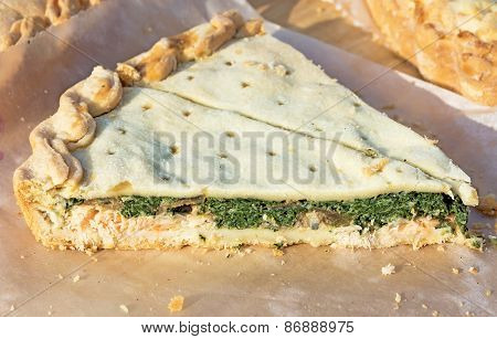 Pie With Fish And Spinach.