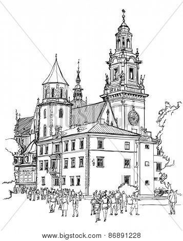 Krakow. Poland. The Wawel Cathedral, Katedra Wawelska in Polish, was the coronation site of Polish monarchs and remains Poland's most important national sanctuary