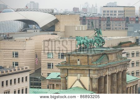 BERLIN, GERMANY - CIRCA NOV, 2014: View of the Brandenburg Gate (Brandenburger Tor) is very famous architectural monument in the heart of Berlin's Mitte district, was created in 1788-1791 years.