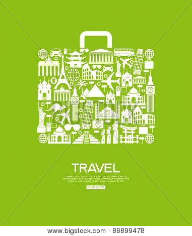 Travel icons in the form of a bag. Travel background infographic. Travel concept with stylish icons.
