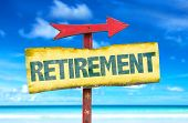 Retirement sign with beach background poster