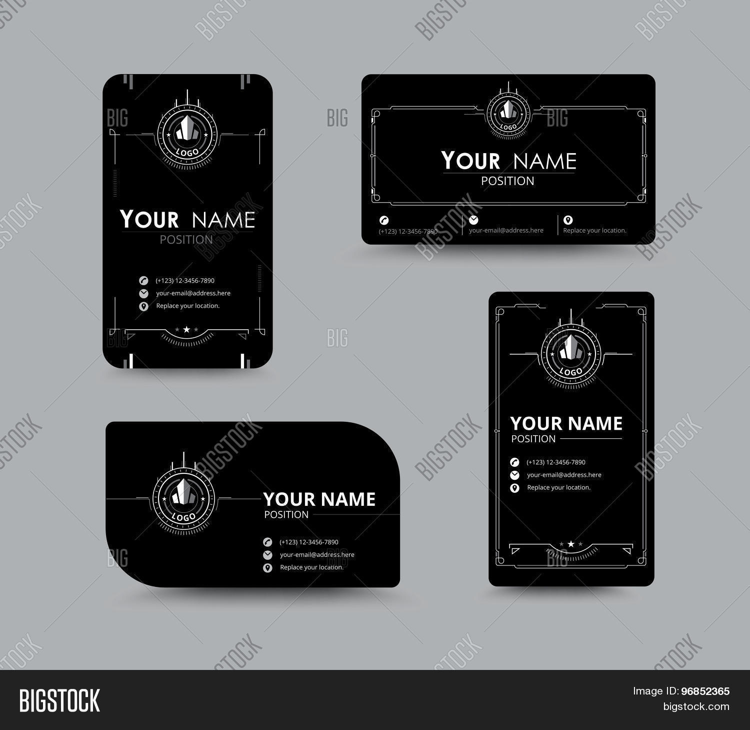 White Business Name Card. Design Vector & Photo | Bigstock