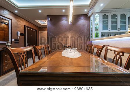 Dining Room Interior In Modern Specious Apartment