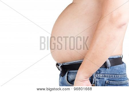 Obese man with unhealthy protruding big belly poster