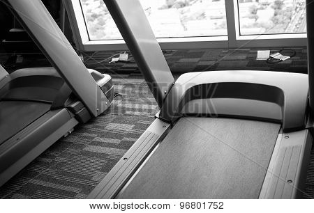 Treadmills In  Fitness Gym Black And White
