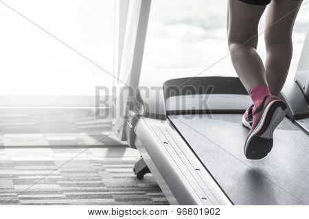 Unknown Woman Wear Pink Running Shoes Workout Split Tone
