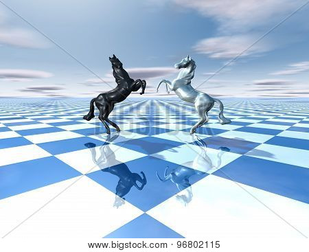 Conflict Abstract Idea With Horses And Chessboard