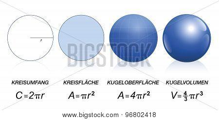 Circle Sphere Maths Formula German