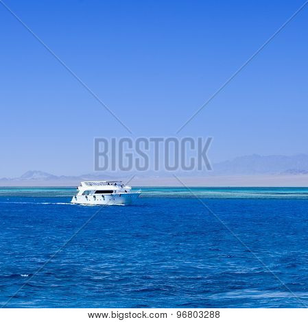 white boat in red sea