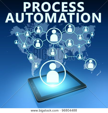 Process Automation illustration with tablet computer on blue background poster