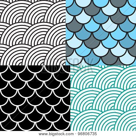 Seamless Fish Scale Pattern Set Vector Illustration