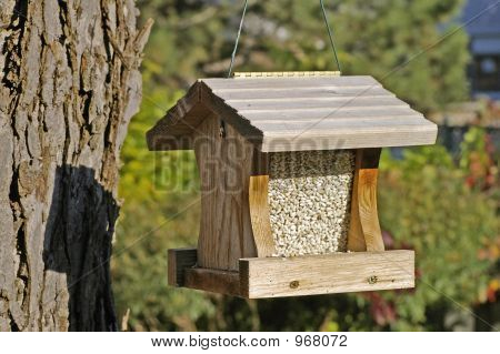 Hanging Wooden Bird Feeder