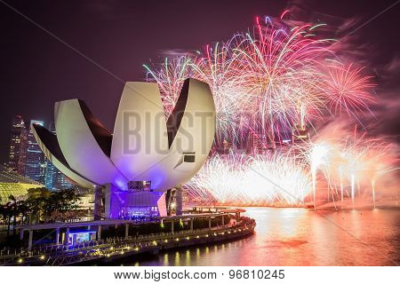 Singapore Skyline And View Of Marina Bay With 50 Years Of Independence Fireworks