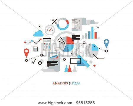 Data Analysis Flat Line Illustration
