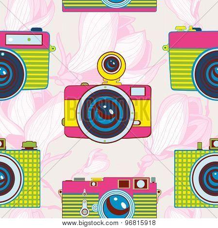 Vintage cameras colorful seamless pattern
