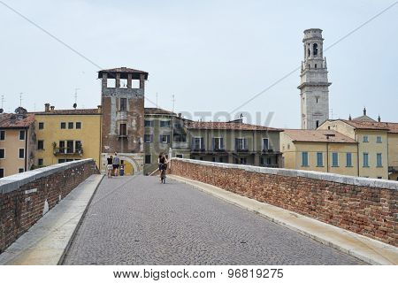 VERONA, ITALY - JULY 13: Verona seeing from atop Pietra Bridge, with Duomo di Verona cathedral tower to the right. July 13, 2015 in Verona.