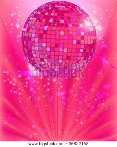 Vector disco ball on the pink background.