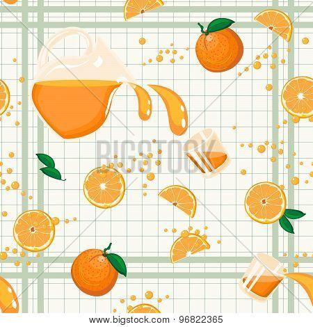 Orange Juice Seamless Pattern