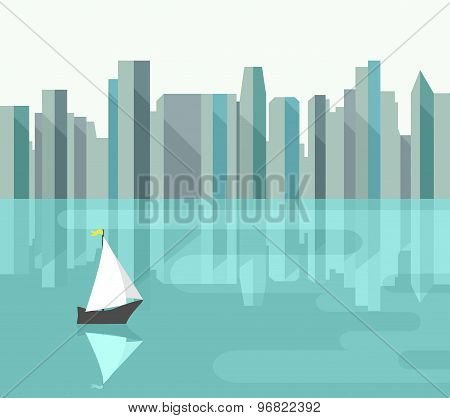Abstract City With Reflection On Bay