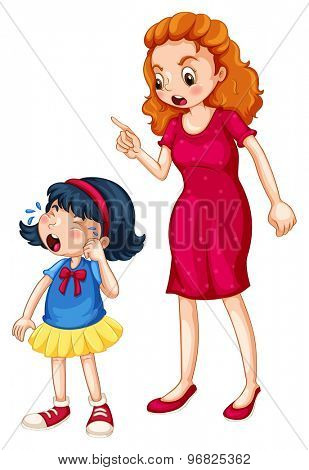 Female pointing finger while scolding a weeping girl on white background
