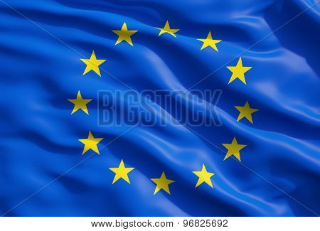 Close Up Of The Flag Of European Union. Eu Flag Drapery.