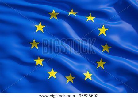 Close Up Of The Flag Of European Union. Eu Flag Drapery.