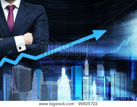 Close Up Of The Businessman With Crossed Hands. Growing Arrow As A Concept Of The Success. Hologram