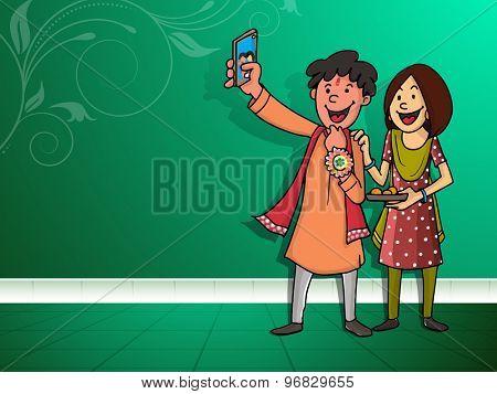 Happy brother and sister taking selfie after celebrating Raksha Bandhan festival on floral design decorated green background.