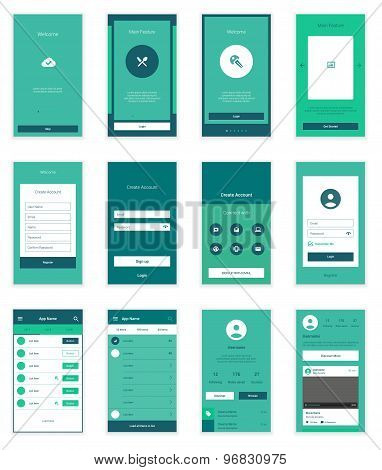 Mobile User Interface 35 Screens Wirefrme Kit for onboarding wizard, login, signup and dashboard lis