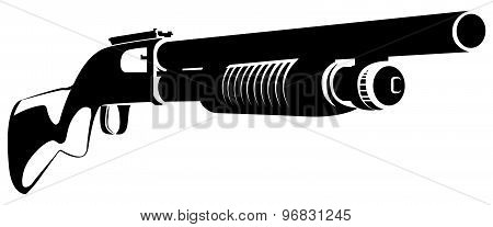 Illustration Black And White With A Shotgun Isolated On White Background