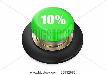 10 percent discount green button isolated on white background poster