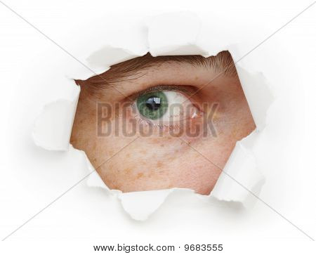 Eye Is Watching Us Through A Hole