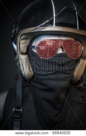 Nightmare rider, biker with sunglasses red crystals and balaclava poster