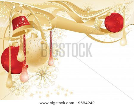 Gold And Red Christmas Card