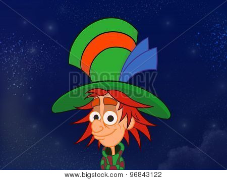 Hatter In Big Colorful Hat.