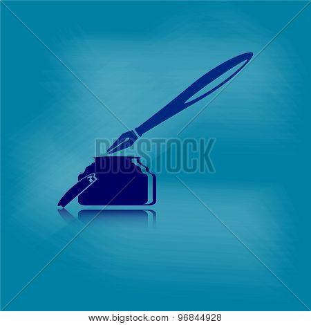 Ink Pen  With Dusty Chalk Board Background