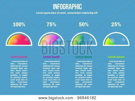 Infographic with color percent diagrams