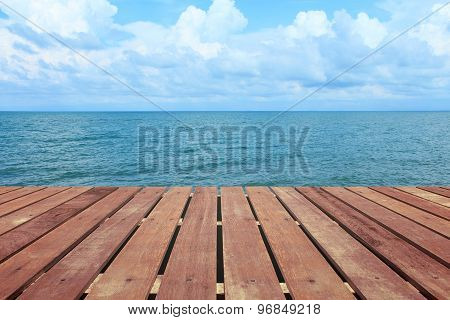 Tropical Beach With Wooden Floor