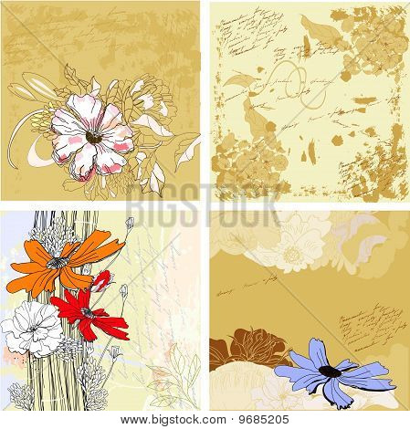 Four Grunge Floral Background