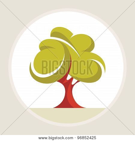 Beautiful tree - creative vector illustration. Abstract green tree concept illustration.