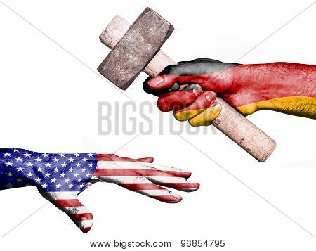 Flag of Germany overprinted on a hand holding a heavy hammer hitting a hand representing the United States. Conceptual image for political fiscal or social aggressions penalties taxation poster