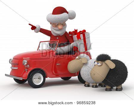 3D Santa Claus By Car With Sheep