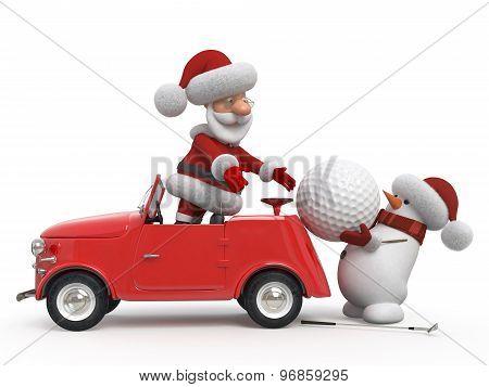 3D Santa Claus  Golfer By Car