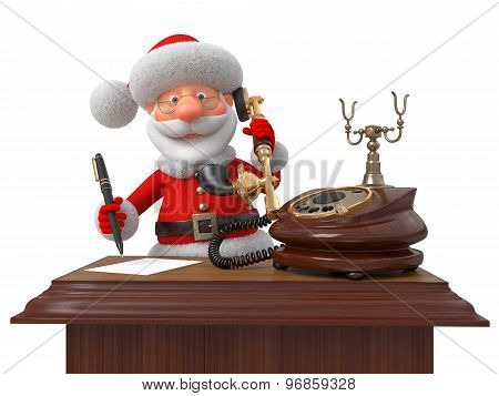 Santa Claus With Phone And The Handle