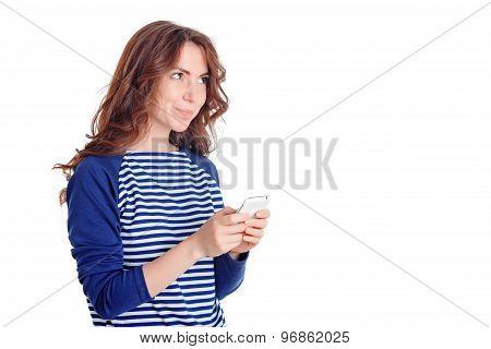Nice girl holding mobile phone