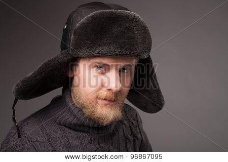 lumberjack in Russian hat