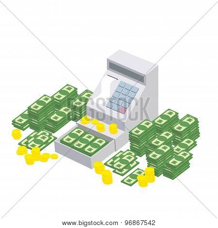Open Cash Register Machine With A Lot Of Money. Seller Box To Store Proceeds At  Store. Vector Illus